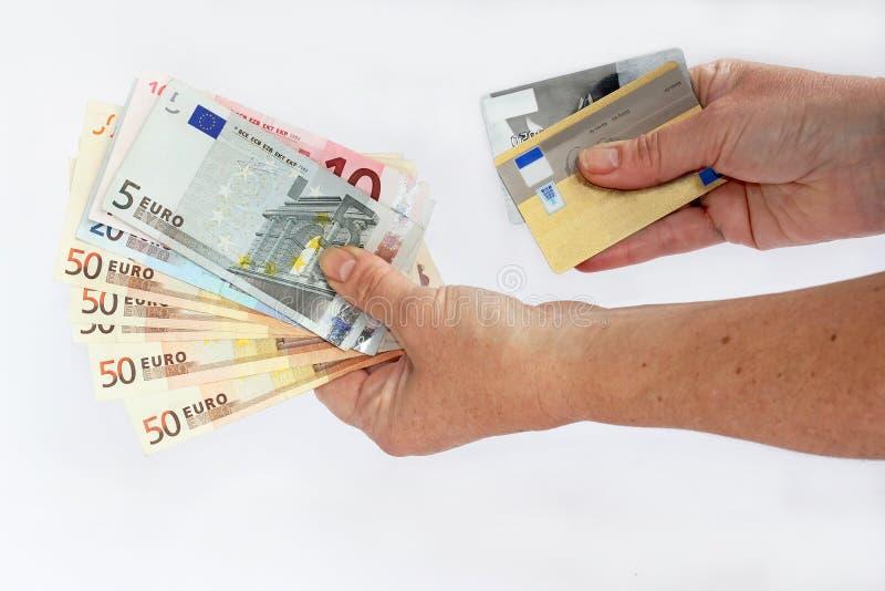 Kassa eller kreditkort royaltyfri fotografi