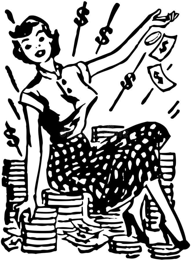 Kassa för dam On Pile Of stock illustrationer