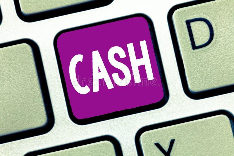 Kassa för ordhandstiltext Affärsidé för pengar i någon form speciellt det som är omedelbart tillgängliga mynt arkivbild