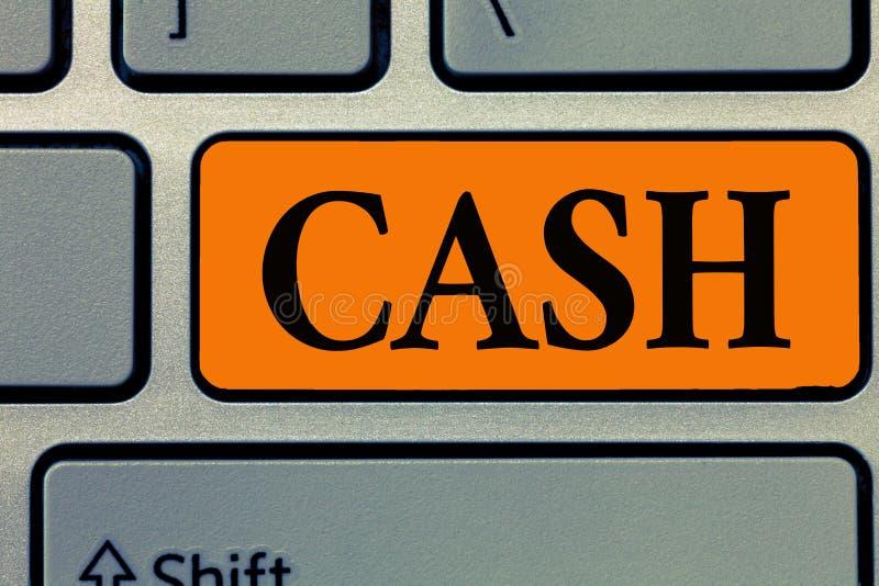 Kassa för ordhandstiltext Affärsidé för pengar i någon form speciellt det som är omedelbart tillgängliga mynt arkivfoto