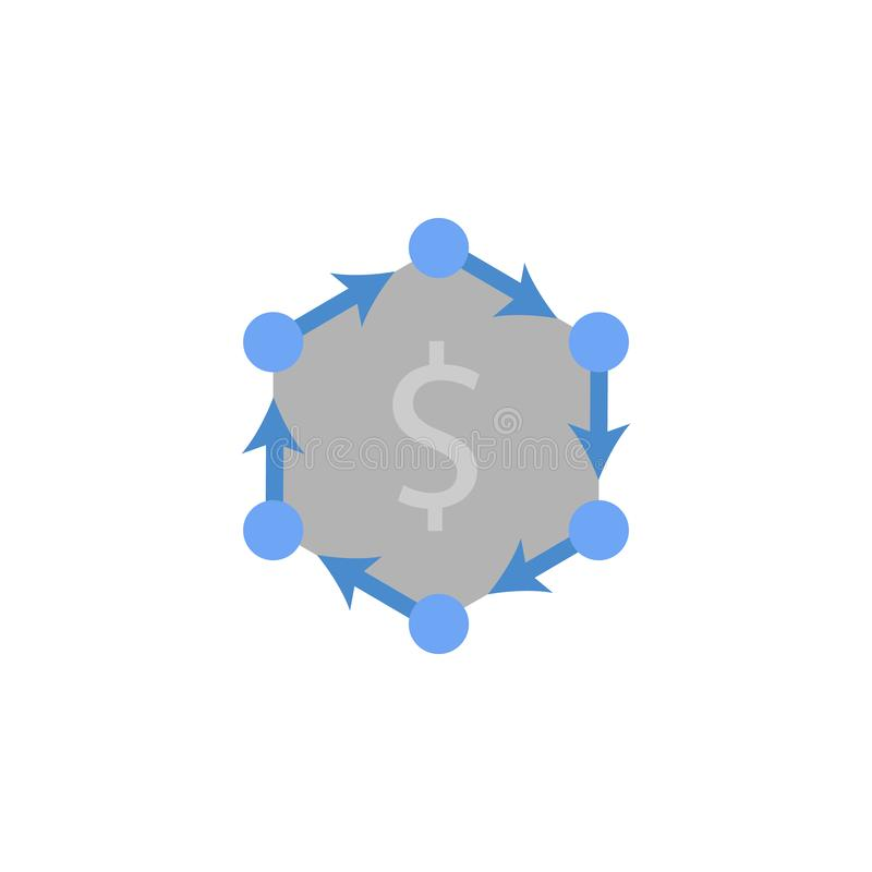 Kassa flöde, finans, pengar och att packa ihop två färgblått- och grå färgsymbol vektor illustrationer