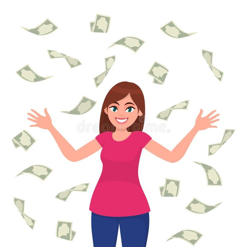 Kassa-/pengar-/sedel/currency räkningar som faller runt om den lyckade lyckliga unga affärskvinnan som isoleras i vit bakgrund vektor illustrationer