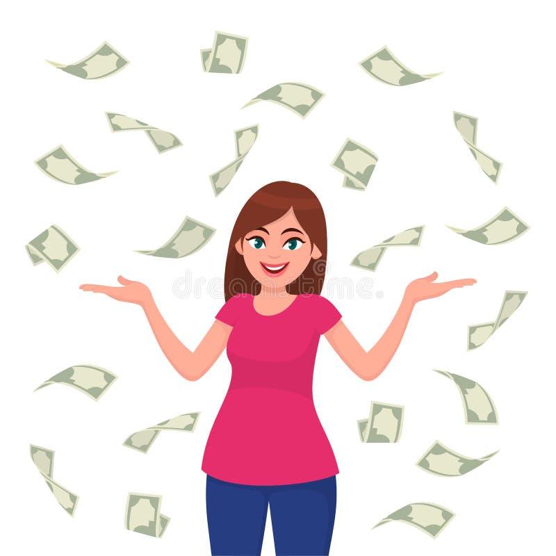 Kassa-/pengar-/sedel/currency räkningar som faller runt om den lyckade lyckliga unga affärskvinnan som isoleras i vit bakgrund royaltyfri illustrationer