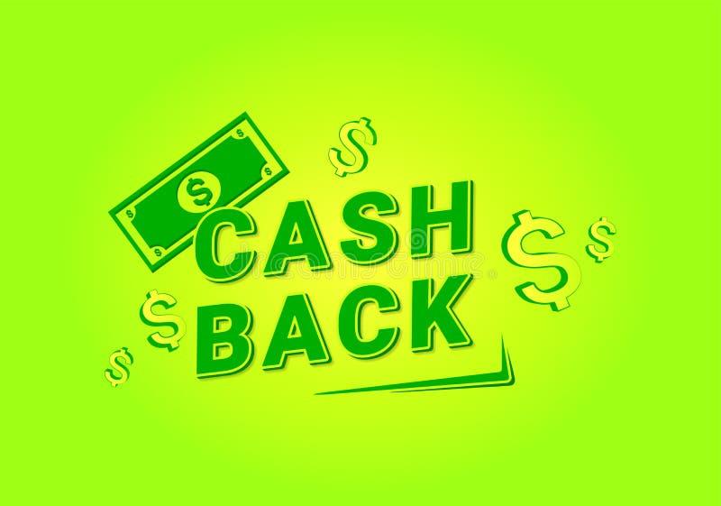 Kassa tillbaka för banerdesign Pengar kassabaksida, erbjudande royaltyfri illustrationer