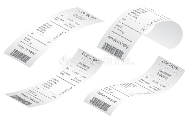 Kassaapparatf?rs?ljningskvitton som skrivs ut p? termiskt rullande papper F?rs?ljningar skrivev ut kvittot R?kningatm-mall stock illustrationer