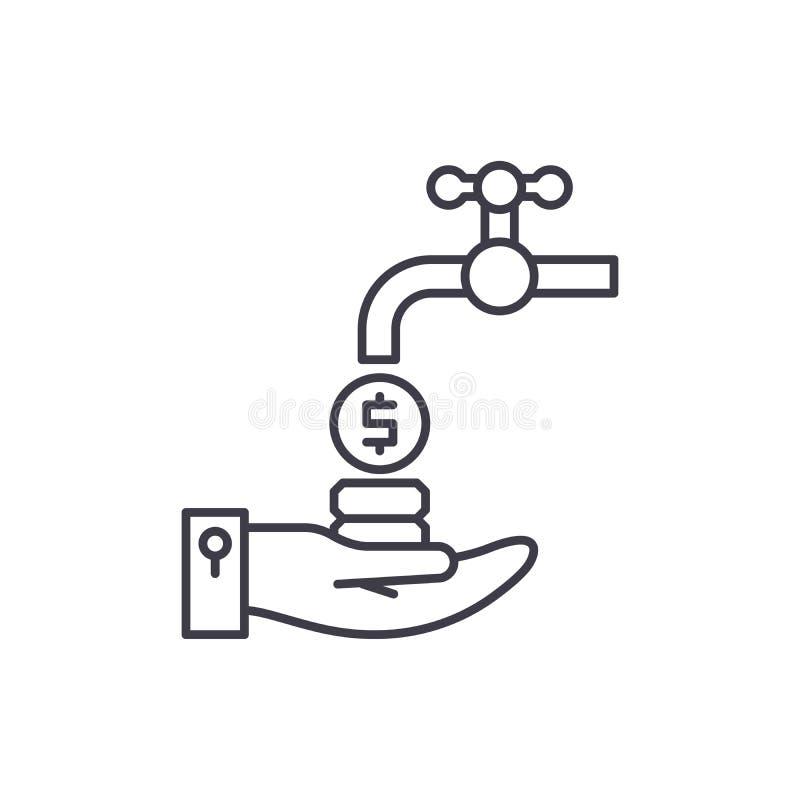 Kassaflödelinje symbolsbegrepp Linjär illustration för kassaflödevektor, symbol, tecken vektor illustrationer