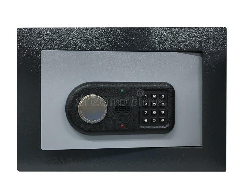 Kassaskåp med det kodade låset som isoleras på vit bakgrund royaltyfri foto