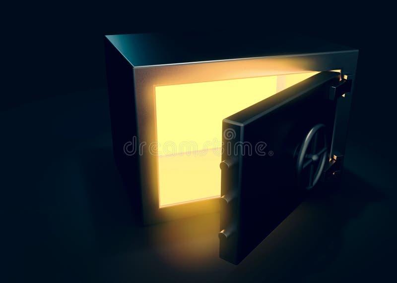 Kassaskåpet på mörk bakgrund med ljus effekt 3d framför vektor illustrationer