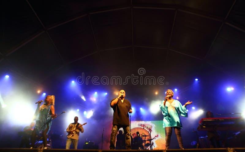 Kassav, Caribbean band. CAPE VERDE, PRAIA - MAY 21: Kassav, Caribbean band, performs at the Festival Gamboa in May 21, 2016 in Cape Verde, Praia royalty free stock photo