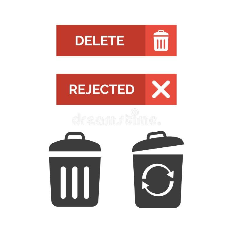 Kasserad knapp- och avfallfacksymbol på vit bakgrund stock illustrationer