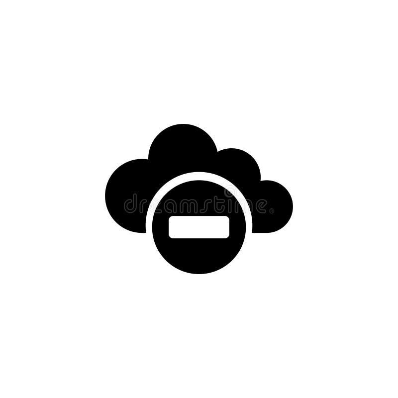Kasserat tillträdesnätverk, moln som beräknar den plana vektorsymbolen stock illustrationer