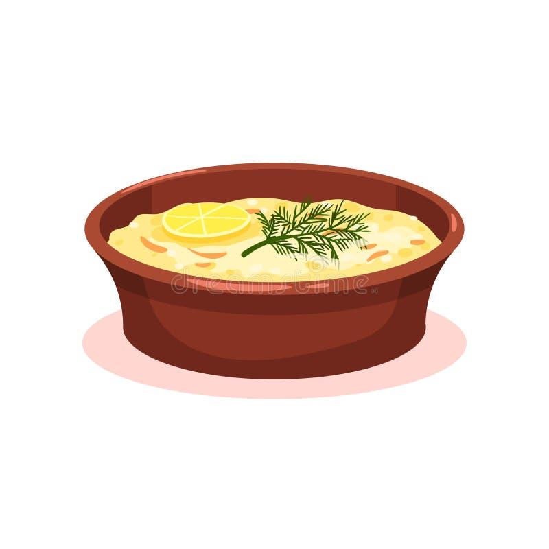 Kasserolle mit Gemüse und Fleisch, moussaka, Teller-Vektor Illustration der bulgarischen Küche nationale Nahrungsmittelauf einem  lizenzfreie abbildung