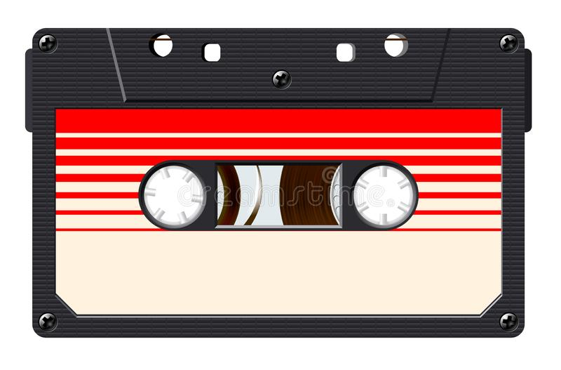 Kassette mit Retro- Aufkleber wie Weinlesegegenstand f?r Mischungs-Banddesign der Wiederbelebung 80s lizenzfreie abbildung