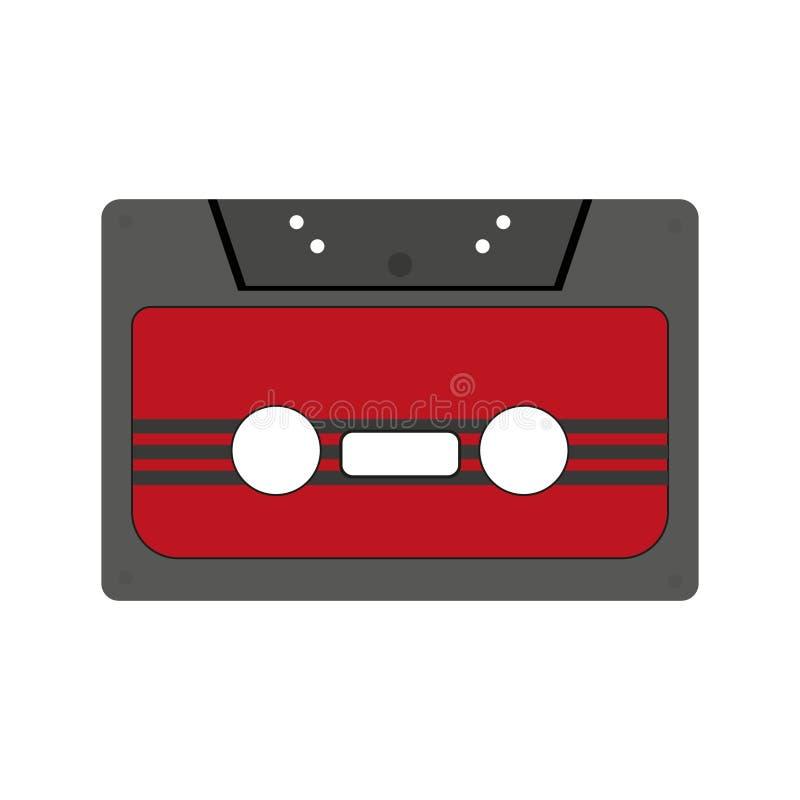 Kassette mit Retro- Aufkleber wie Weinlesegegenstand f?r Mischungs-Banddesign der Wiederbelebung 80s, Parteiplakat oder Abdeckung lizenzfreie abbildung