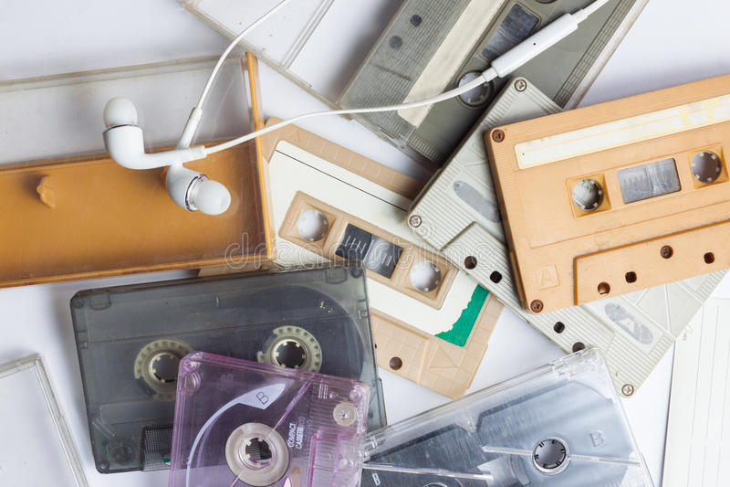 Kassette und Kopfhörer stockfotos