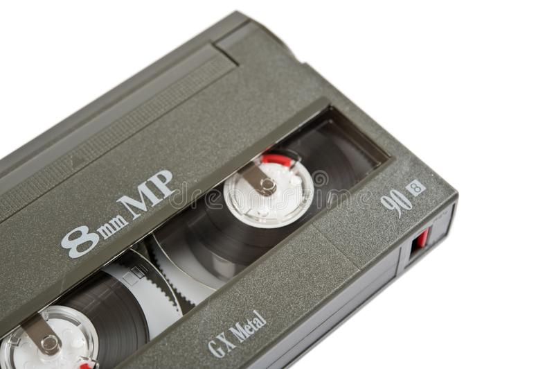 Kassette Video8 auf weißem Hintergrund lizenzfreie stockfotos
