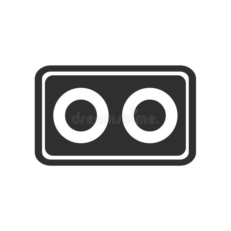 Kassettenikonenvektorzeichen und -symbol lokalisiert auf weißem Hintergrund, Kassettenlogokonzept vektor abbildung