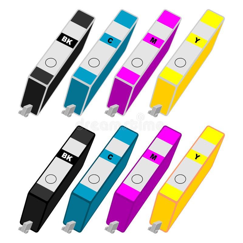 kassettfärgpulver vektor illustrationer