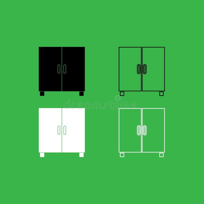 Kast of kabinetsreeks van de pictogram de Zwart-witte kleur stock illustratie