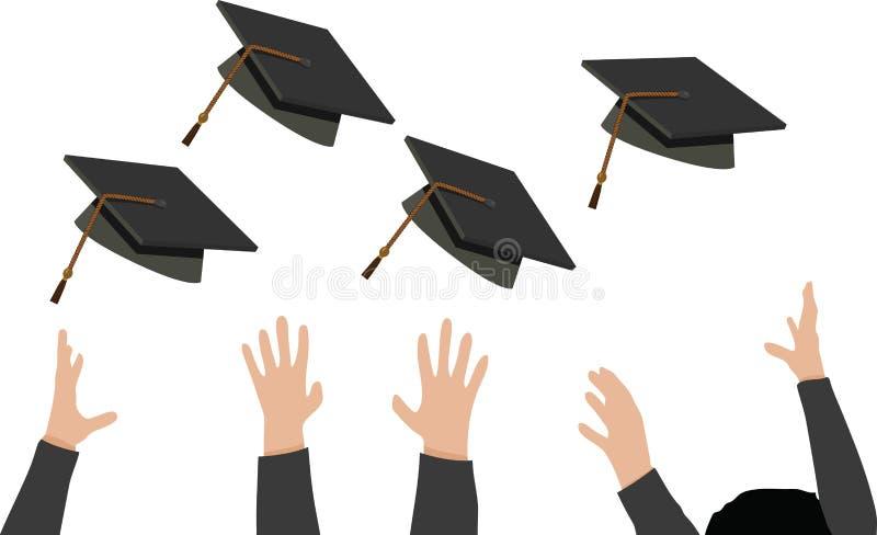 Kasta av avläggande av examenlocket - svart akademikermössa vektor illustrationer