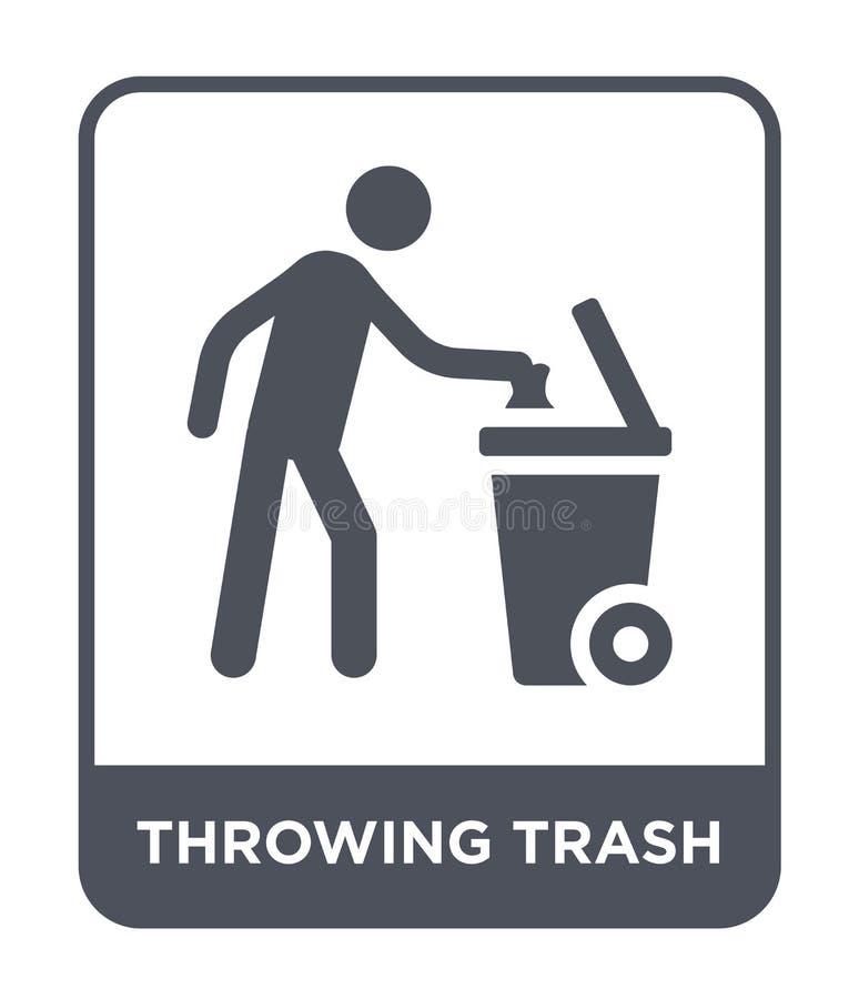 kasta avfallsymbolen i moderiktig designstil kasta avfallsymbolen som isoleras på vit bakgrund kasta den enkla avfallvektorsymbol vektor illustrationer