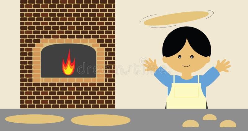 kasta för pizza vektor illustrationer