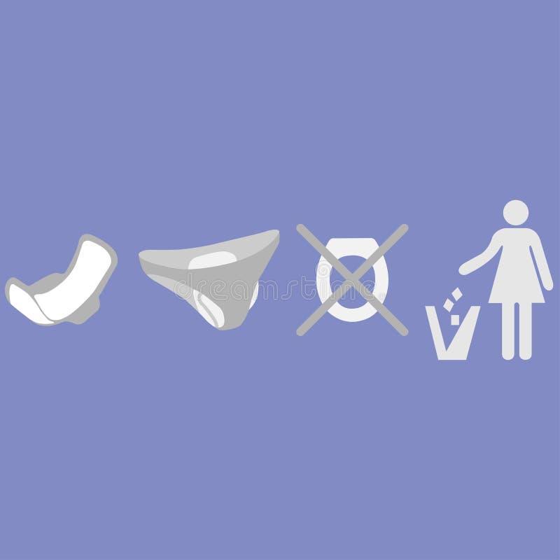 Kasta inte kvinnliga produkter i toalett vektor illustrationer
