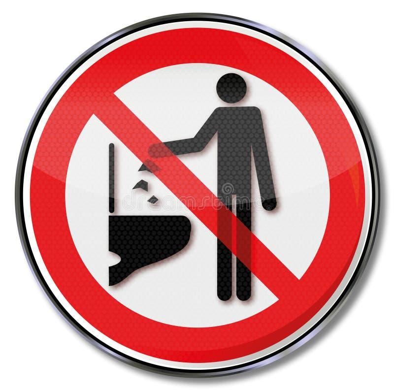 Kasta inte några objekt ner in i toaletten royaltyfri illustrationer