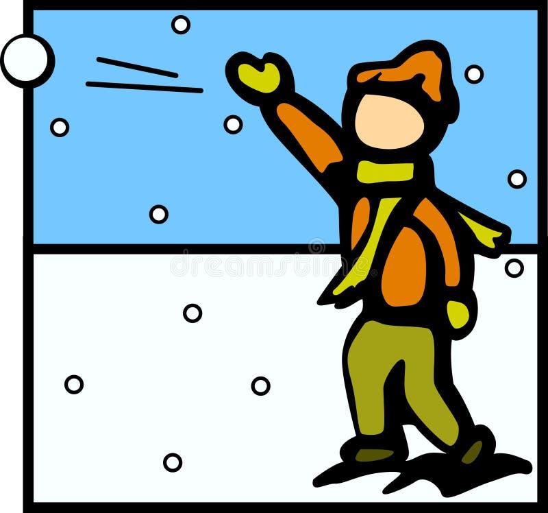 kasta snöboll att kasta stock illustrationer