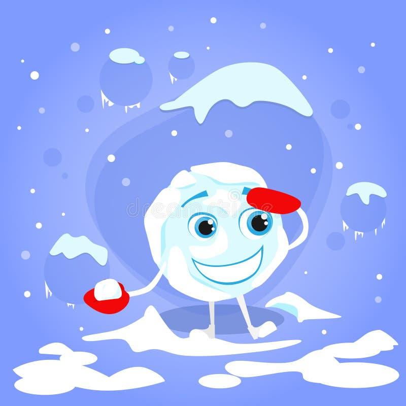 Kasta snöboll den röda bollen för vintern för handsketecknad filmteckenet vektor illustrationer