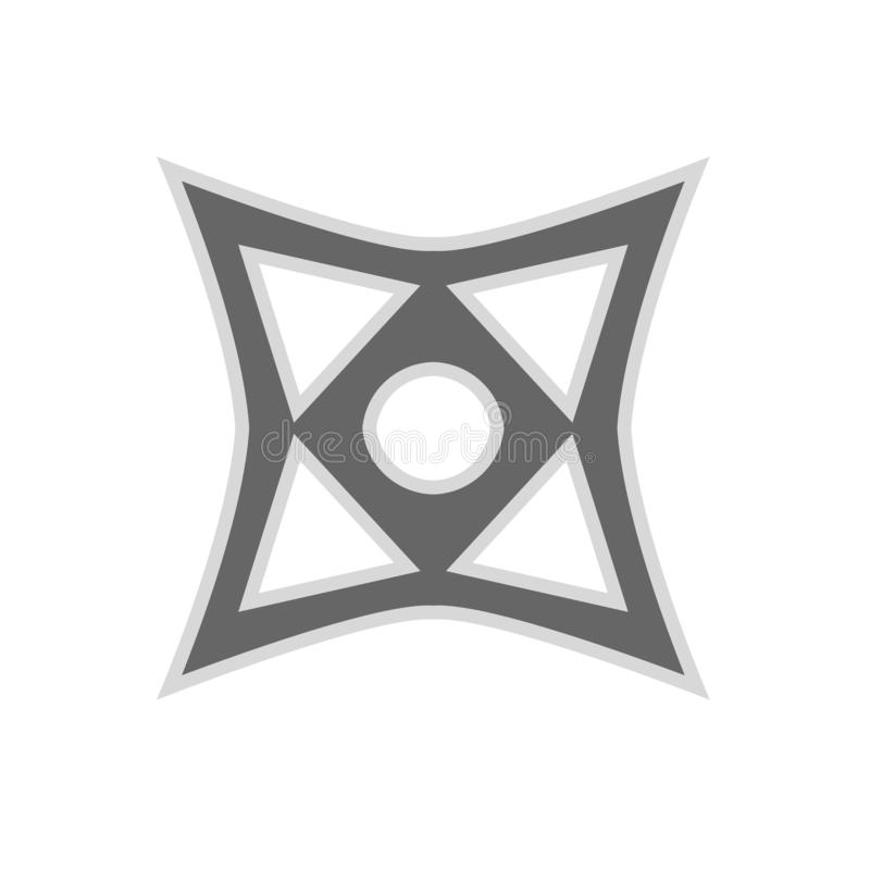 Kasta stjärnaninja shuriken den plana symbolen för vektorn Vapen för kontur för rolig antik söm för byte enkelt skarpt royaltyfri illustrationer