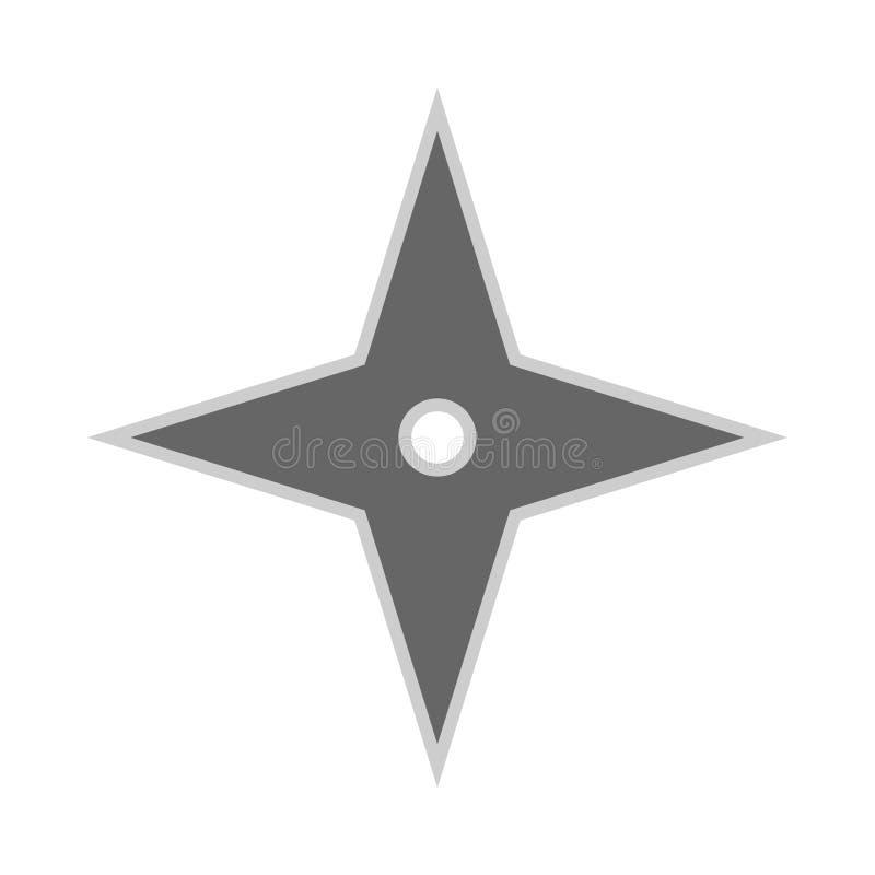 Kasta stj?rnaninja shuriken den plana symbolen f?r vektorn Vapen f?r kontur f?r rolig antik s?m f?r byte enkelt skarpt stock illustrationer