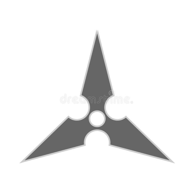 Kasta stj?rnaninja shuriken den plana symbolen f?r vektorn Vapen f?r kontur f?r rolig antik s?m f?r byte enkelt skarpt royaltyfri illustrationer