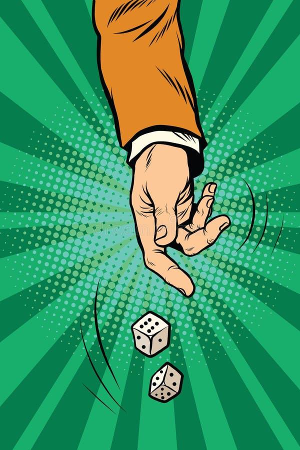 Kasta tärningen, modig randomnesskasino stock illustrationer