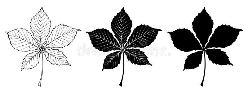 Kastanienblatt Linear, Schattenbild Auch im corel abgehobenen Betrag stock abbildung