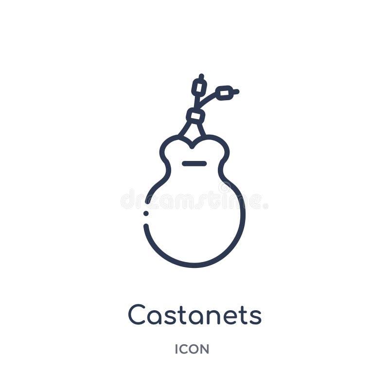 Kastaniet ikona od muzycznej kontur kolekcji Cienieje kreskową kastaniet ikonę odizolowywającą na białym tle ilustracji