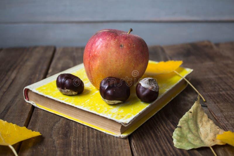 Kastanj för sidor för bokäpple en gul på träbakgrund royaltyfri fotografi