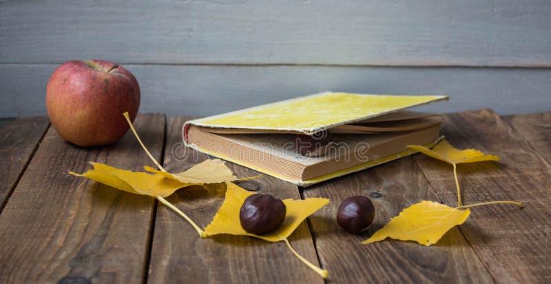 Kastanj för sidor för bokäpple en gul på träbakgrund arkivfoton