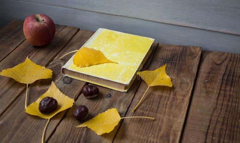 Kastanj för sidor för bokäpple en gul på träbakgrund royaltyfria foton