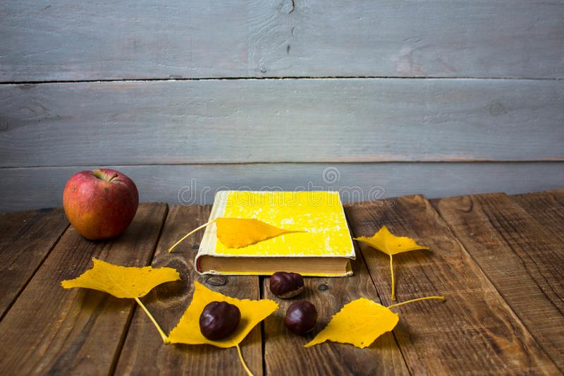 Kastanj för sidor för bokäpple en gul på träbakgrund royaltyfri bild