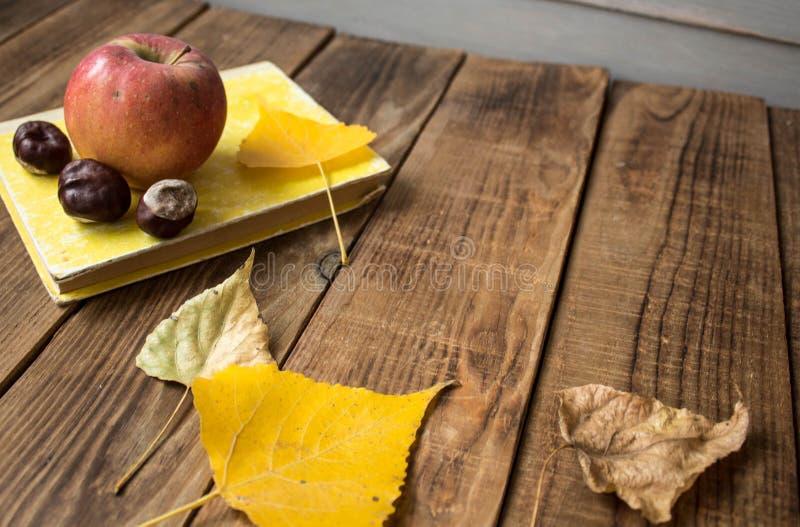 Kastanj för sidor för bokäpple en gul på träbakgrund arkivbilder