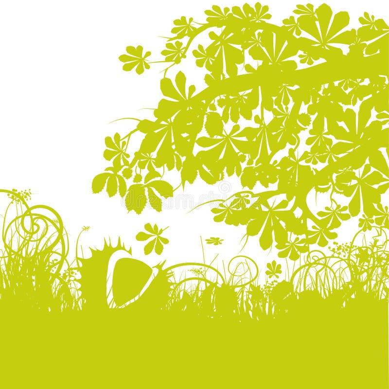 Kastanj under ett kastanjebrunt träd vektor illustrationer