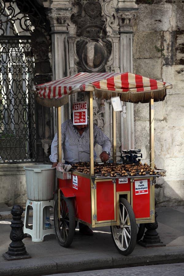 kastanjebrun istanbul grillad säljare royaltyfri bild
