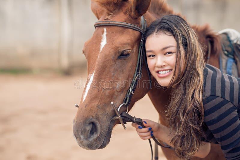 Kastanjebrun ponny och flicka arkivbilder