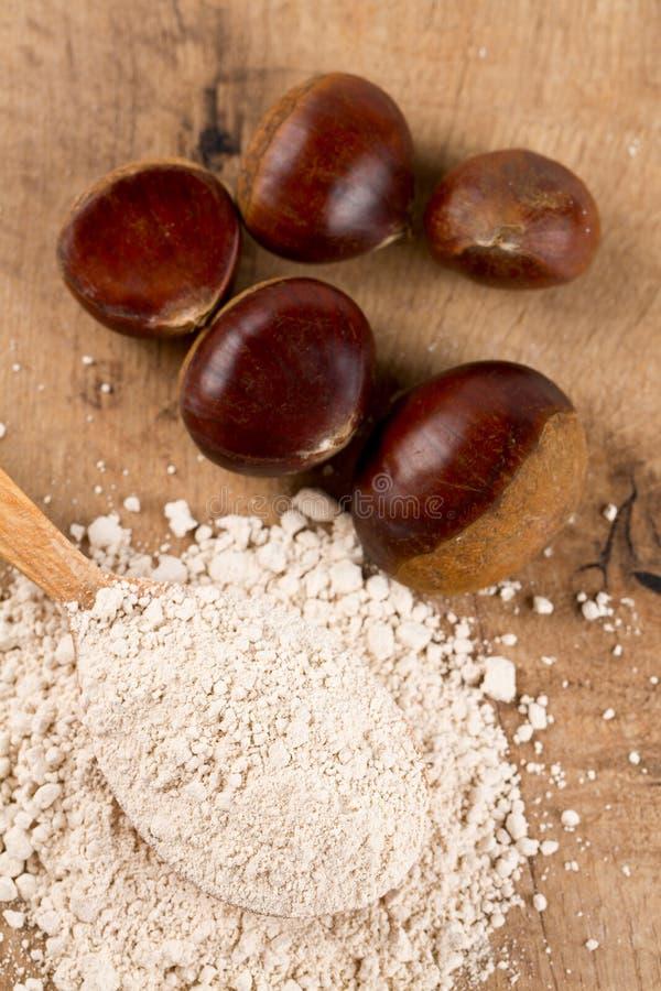 Kastanjebrunt mjöl i en träsked arkivfoto