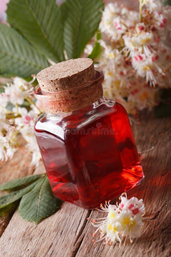 Download Kastanjeinfusie Van Bloemen In Een Flessen Verticale Close-up Stock Afbeelding - Afbeelding bestaande uit achtergrond, sluit: 54086517