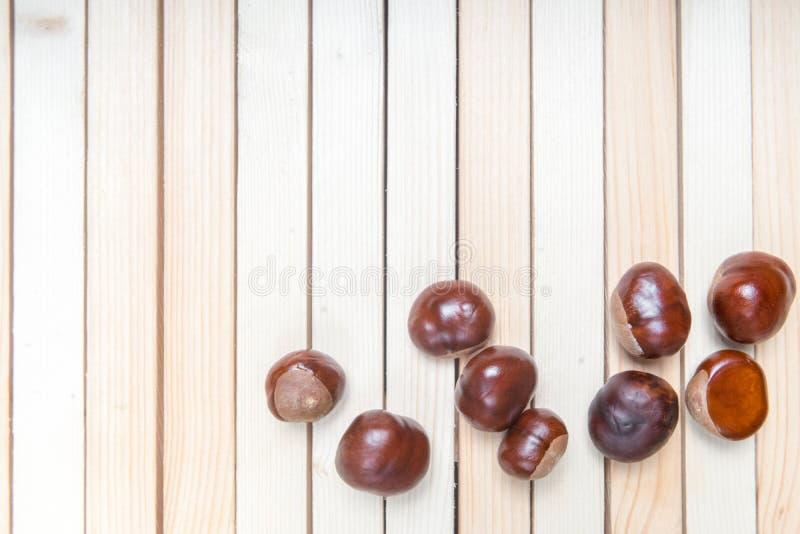 Kastanjer eller muttrar för aesculushippocastanum- eller conkerträd på trätabellen Med ditt st?lle f?r texten Top besk?dar royaltyfria foton