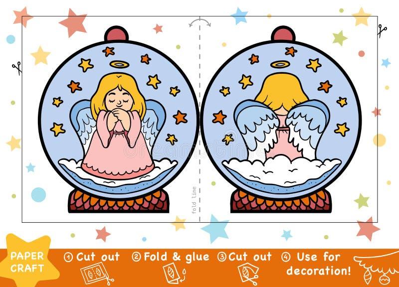 Kastar snöboll pappers- hantverk för jul för barn, med en ängel vektor illustrationer