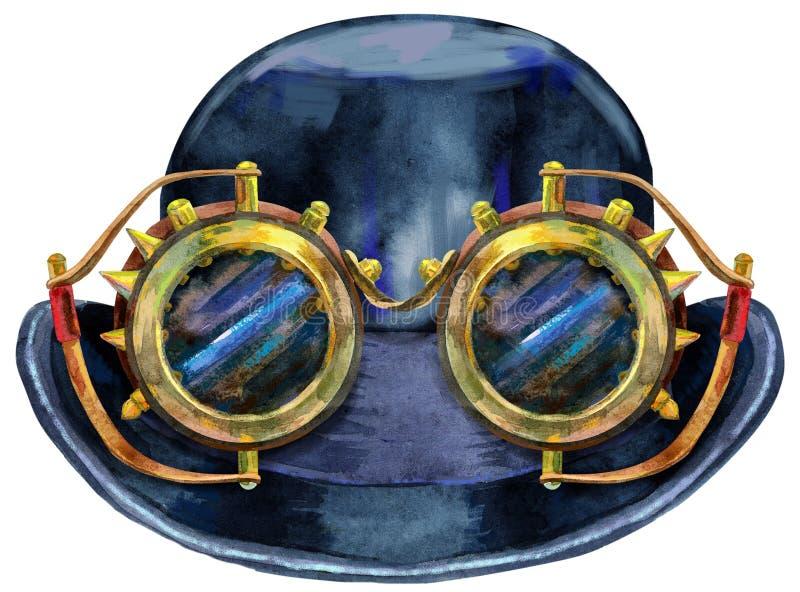 Kastare för svart hatt för vattenfärg med steampunkexponeringsglas Cylinder - huvudbonad Tappningmäns klänning royaltyfri illustrationer