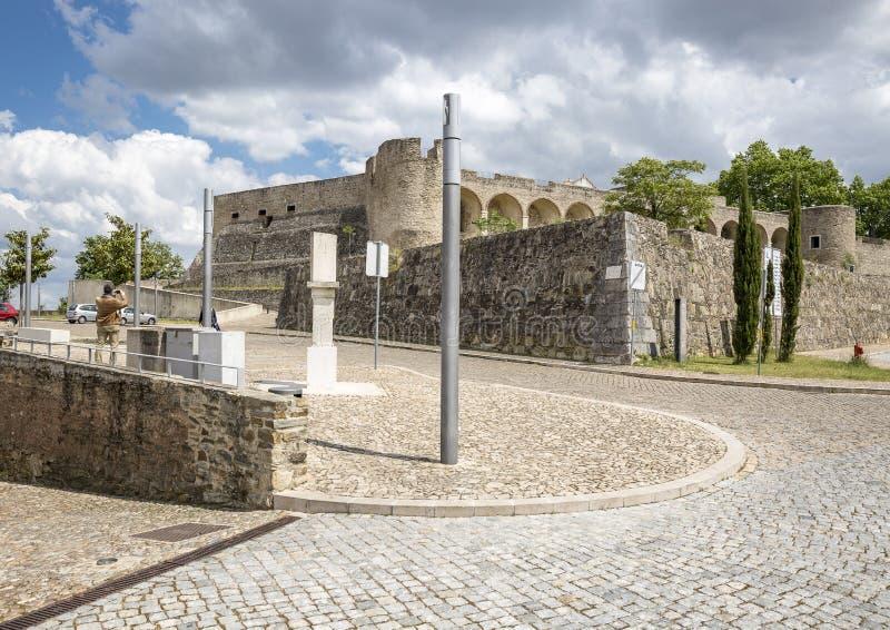 Kasteel in Abrantes-stad, district van Santarem, Portugal stock afbeeldingen